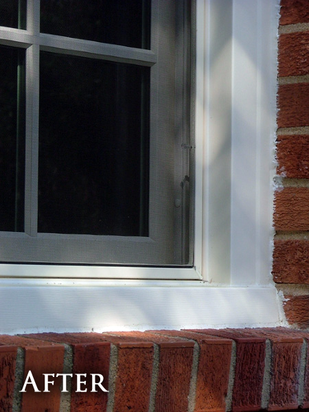 Damaged window casing after