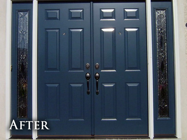 Weathered front doors after