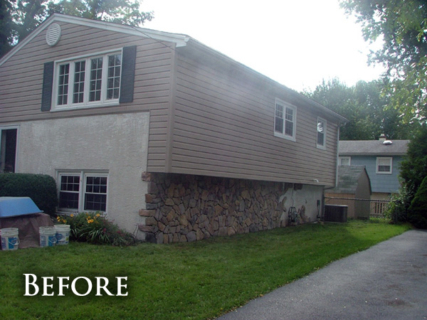 Stone accent siding before