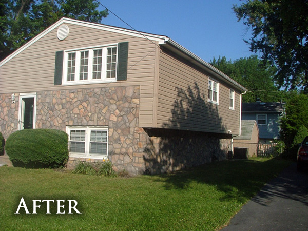 Stone accent siding after