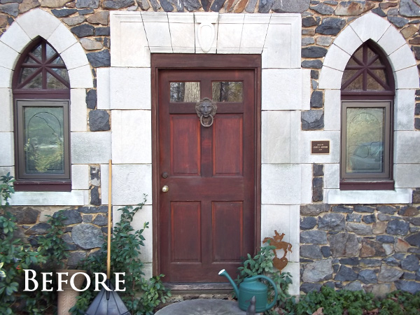 Weathered front door after