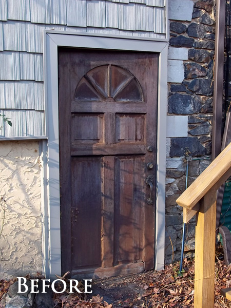 Rotted wood door after