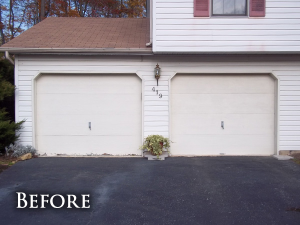 White garage doors before