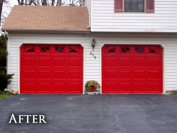 White garage doors after