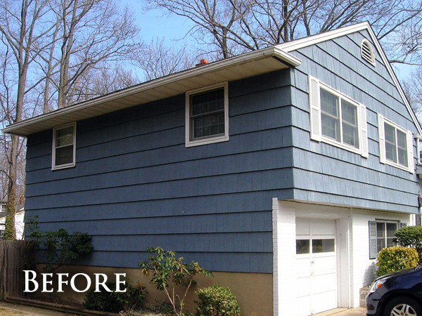 Blue vertical siding replace before