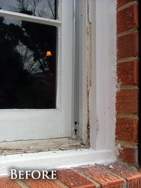 Damaged window casing before