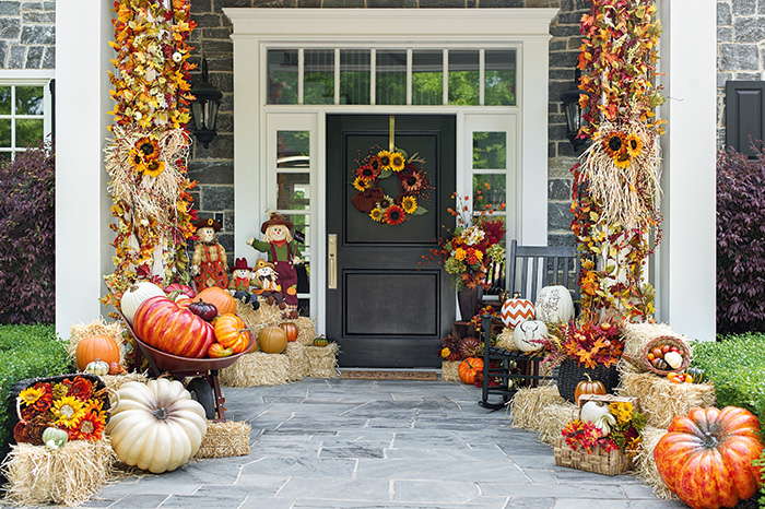 Dress up your porch for the season thanksgiving pj fitzpatrick - Front door thanksgiving decorating ideas ...