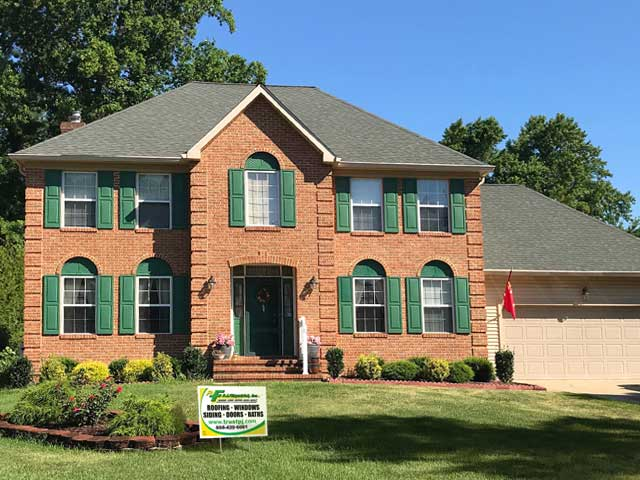 Brick home new gutters