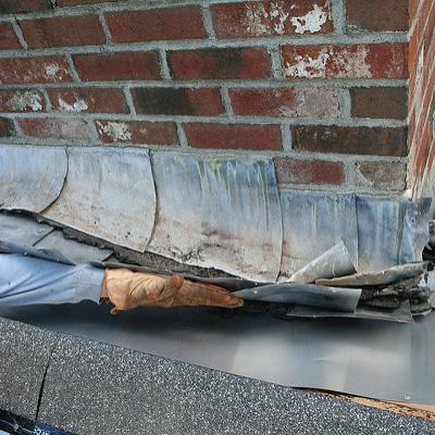 Roof Leak from Damaged Flashing